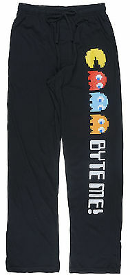 Pac-Man Byte Me Lounge Pants Sleepwear Casual Bottoms Loose Fit Comfy Mens Black