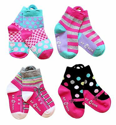 Kids Toddler Socks Non Skid Grippers Seamless Toe and Ez Pull Up Loops