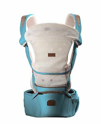 Bebamour Baby Carrier Baby Hipseat Infant Backpack with Hoodie (Blue) Blue