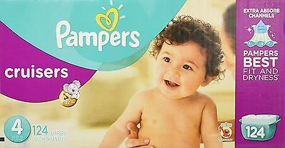 Pampers Cruisers Diapers Size 4 Economy Pack 124 Count- Packaging May Vary
