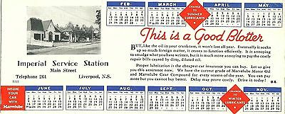 LIVERPOOL, NS. Blotter from Imperial Service Station, Main  Street. Circa 1950