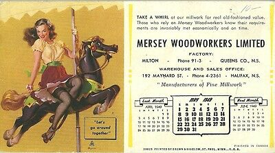 MILTON, NS. Blotter from MERSEY WOODWORKERS LIMITED. 1949. F-VF condition.