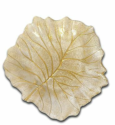 Classic Touch CLD229 Beveled Leaf Dish 11.4-Inch Gold