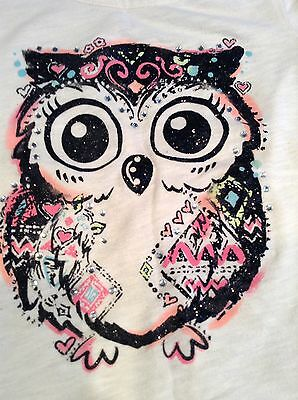 Justice Girls T Shirt Top Owl Gems Sparkly Glittery Cute SS