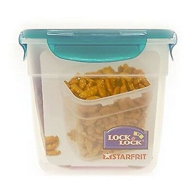 Lock & Lock 1L Nestable Rectangle Container with Teal Lid 1 L