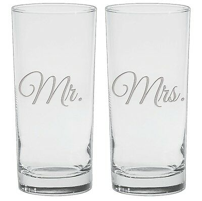 Culver 2-Piece Etched Mr. and Mrs. Cooler Glasses Set 15-Ounce