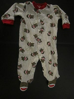 Baby Starters one piece pajamas sleeper sock monkey striped red Size 6 Months