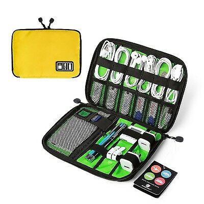 BAGSMART Universal Cable Organizer Travel Electronic Accessories Case Yellow