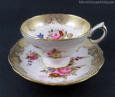 Handpainted Flowers w/ Lacy GOLD Border - Footed CUP & SAUCER - HAMMERSLEY 265 B