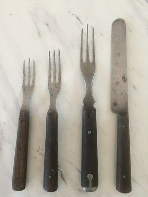 Antique Metal Knife and Three 3-Tined Forks (1 with Silver Inlay) Wooden Handles