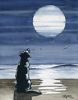 """BLACK LAB """"To The Moon And Back"""" Painting DOG 8 x 10 Signed Art Print DJR"""