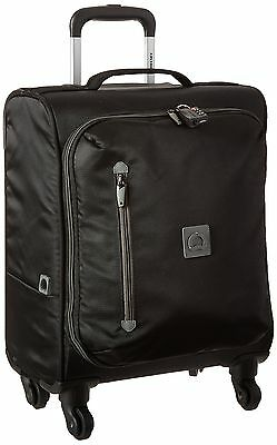 Delsey Luggage 18 Inch Foldable International Carry On Spinner Trolley Black ...