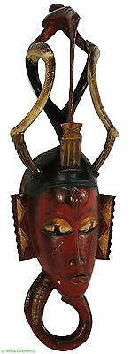 Guro Mask Bird on Top Red Face African Art SALE WAS $195