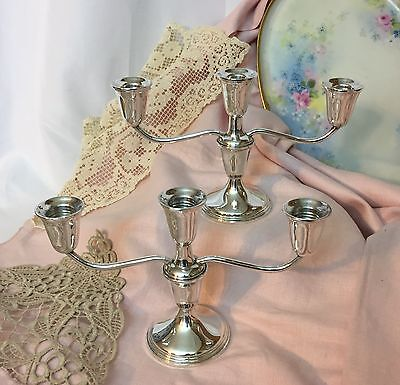 875g Pair Sterling Silver Weighted Candelabra Candle Holders Sticks Convertible