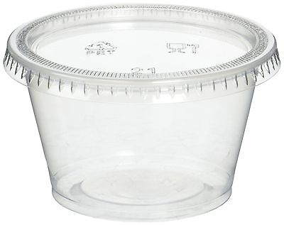 Reditainer Plastic Disposable Portion Cups Souffle Cup with Lids 4-Ounce 100-...