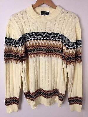 VINTAGE 70s Men's Cable Knit Ski Sweater Size L