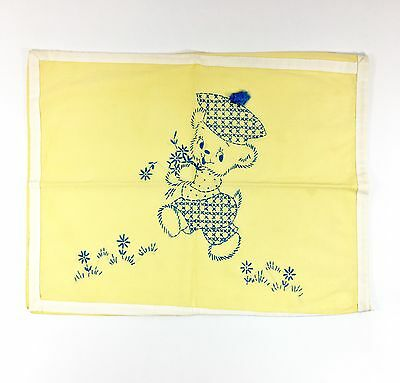 Vintage Hand Sewn Child Pillowcase Yellow Embroidered Teddy Bear