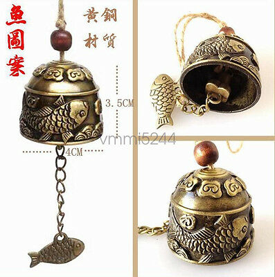 FengShui excellent dragon fish bell beautifully carved decoration style chimes