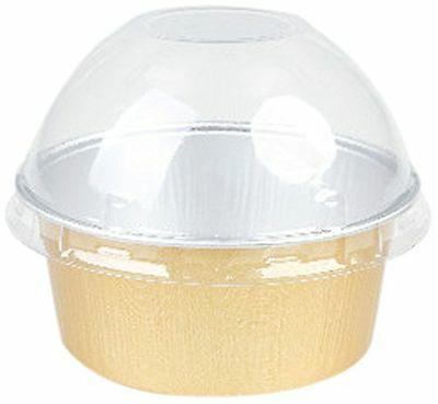 Restaurantware RWM0017G Foil Baking Cup 4.2-Ounce with Lid 100-Count Box Gold