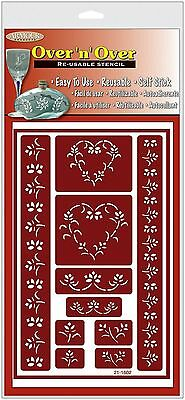 Armour Etch 21-1602 Over N Over Stencil Floral Hearts