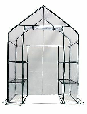 """Happy Planter Walk-In 3 Tiers 6 Shelves Portable Greenhouse 56"""" X 29"""" X 77"""""""