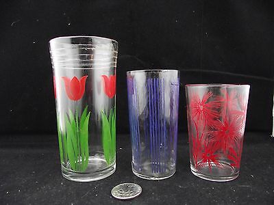 Swanky Swig Tulip Glass Red Flower And Blue Line Glass
