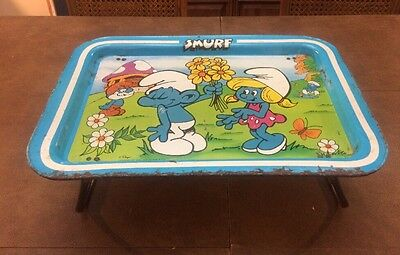 Vintage Smurf TV Lap Bed Folding Tray 1980's Collectible Papa Smurf Smurfette