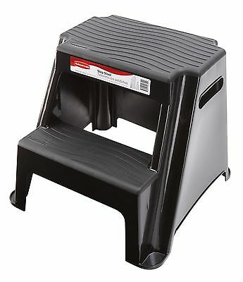 Rubbermaid RM-P2 2-Step Molded Plastic Stool with Non-Slip Step Treads 300-Po...