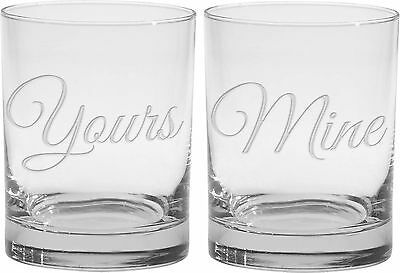 Culver 2-Piece Etched Yours and Mine Double Old Fashioned Glasses Set 14-Ounce