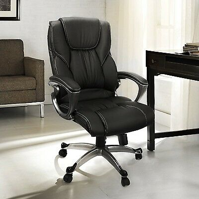 Office Chair With PU Leather Back Support Big&Tall High-Back Computer Desk Ch...