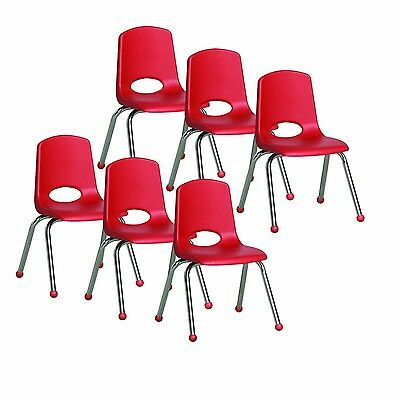 ECR4Kids School Stack Chair with Chrome Legs and Ball Glides 14-Inch 6-Pack Red