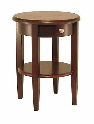 Winsome Wood Round End Table with Drawer and Shelf Antique Walnut