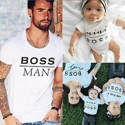 Fashion Dad Mom Kid Baby Family Outfits Short T-shirt Shirt Tops Tee Clothes