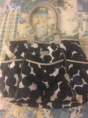 Carters Black Nylon Large Diaper Bag Tote with Front Zippers & 2 Bottle Holders