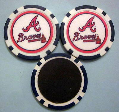 LOT of 2 Atlanta Braves Baseball Poker Chip Magnets Locker Refrigerator Door
