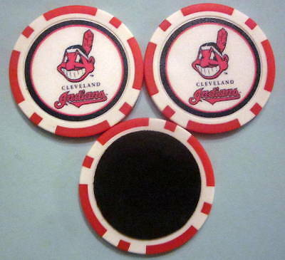 LOT of 2 Cleveland Indians Baseball Poker Chip Magnets Locker Refrigerator Door