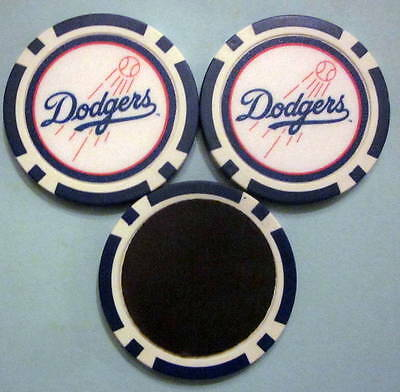 LOT of 2 LA Los Angeles Dodgers Baseball Poker Chip Magnets Locker Refrigerator