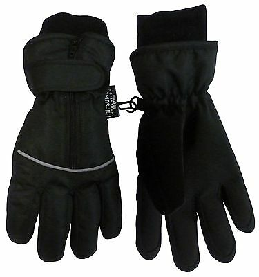 N'Ice Caps Adults Reflector Piping Waterproof Ski Gloves Black Solid