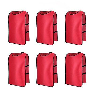 Senston High Quality Sports Pinnies 6 Scrimmage Training Vests ( Red )