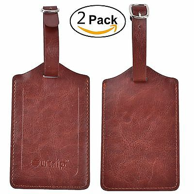 Outrip Leather Luggage Tags Travel Bags Tags 2 Pieces Set In 10 Colors(Brown)