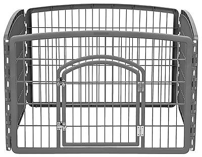 IRIS Plastic Exercise/Containment Pet Pen for Dogs 4-Panel Dark Gray