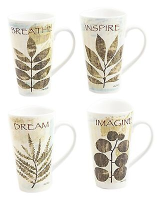 Gibson Elite Nature Pressed Mugs Breath and Inspire 16-Ounce Multicolor