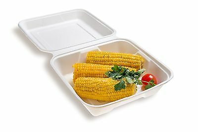 Restaurantware Collezione Pulpa Bagasse Large Clamshell (100 Count Box) 9.4-I...