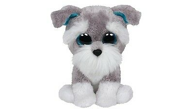 """TY Beanie Boo 6"""" Whispers the Grey Schnauser Plush Toy"""