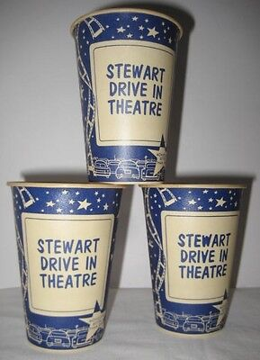 3 Old Dixie Cups Advertising Stewart Drive In Theater Movies - Stars / Film