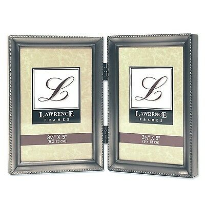 Lawrence Frames Antique Pewter Hinged Double 3.5x5 Picture Frame Beaded Edge ...