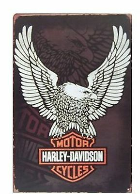 Harley-davidson Motorcycles Logo Metal Tin Sign Vintage Style Wall Ornament C...