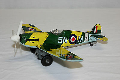 HTC Japan Tin Litho Friction Camouflage Pursuit Fighter Airplane Prop Plane