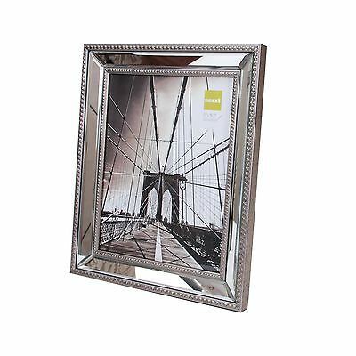 nexxt Sutton Mirrored Picture Frame 8 by 10 Inch Brushed Champagne with Doubl...