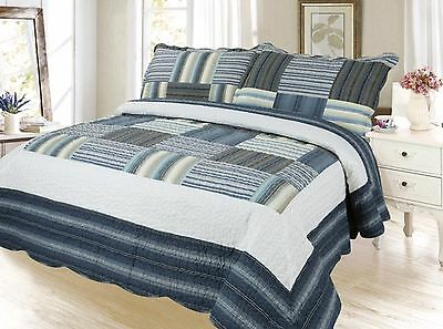 Plaid Printed Bedding 3 Piece / Bedspread Quilt Set Queen (Cadet Gray)